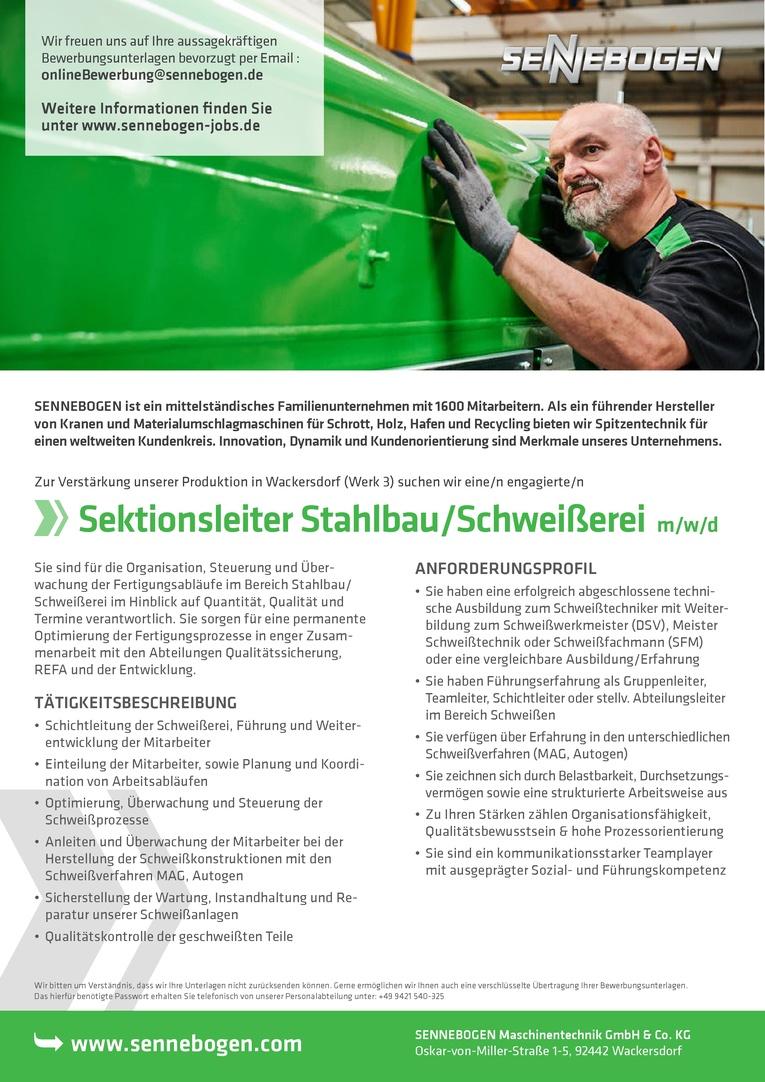 Sektionsleiter Stahlbau/Schweißerei (m/w) Job-Nr. 3053