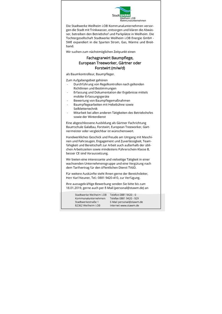 Job Fachagrarwirt Baumpflege European Treeworker Gärtner