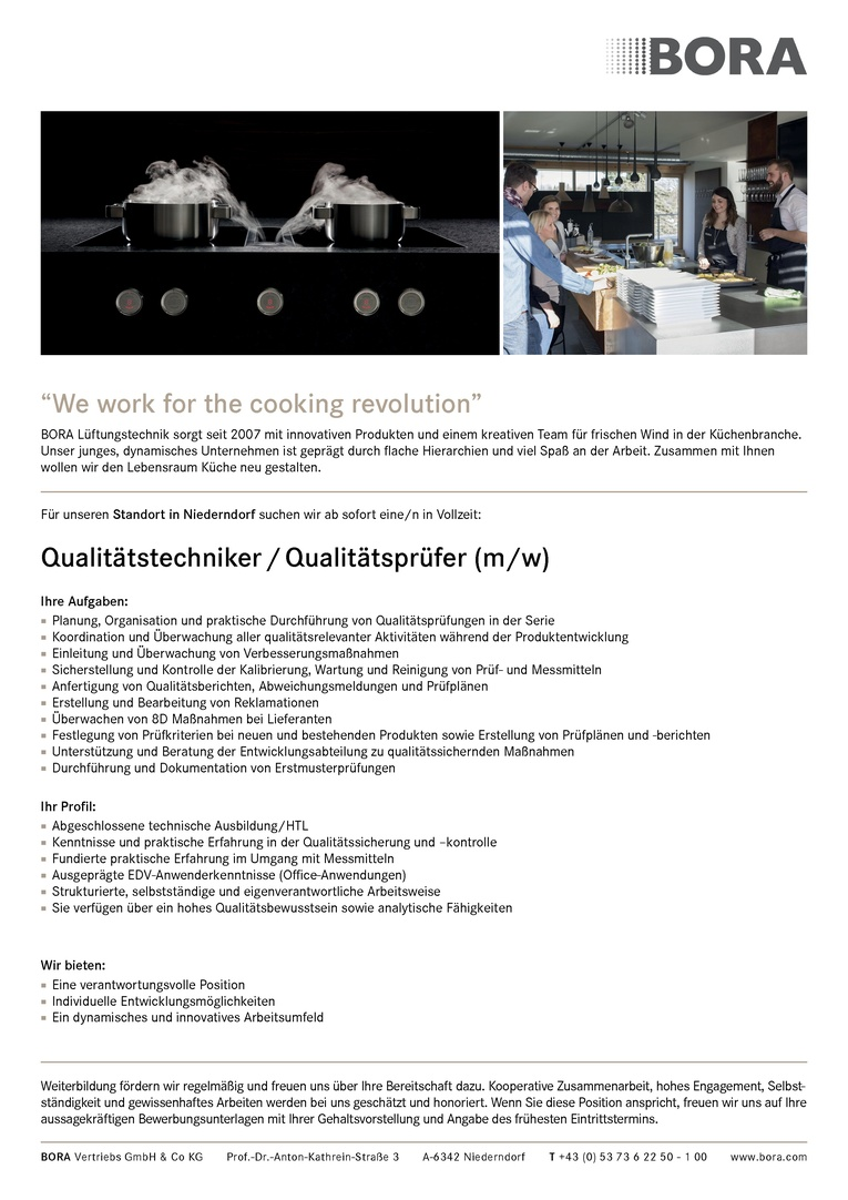Qualitätstechniker / Qualitätsprüfer (m/w)