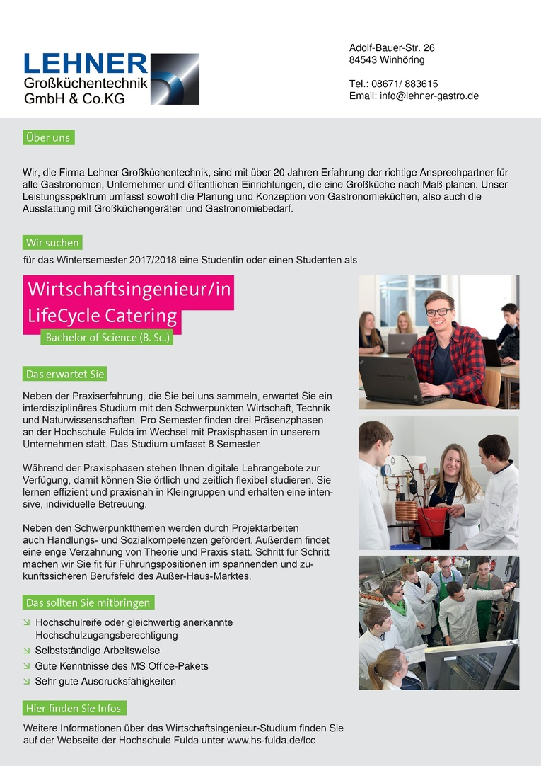Duales Studium - Wirtschaftsingenieur/in LifeCycle Catering (B.Sc.)