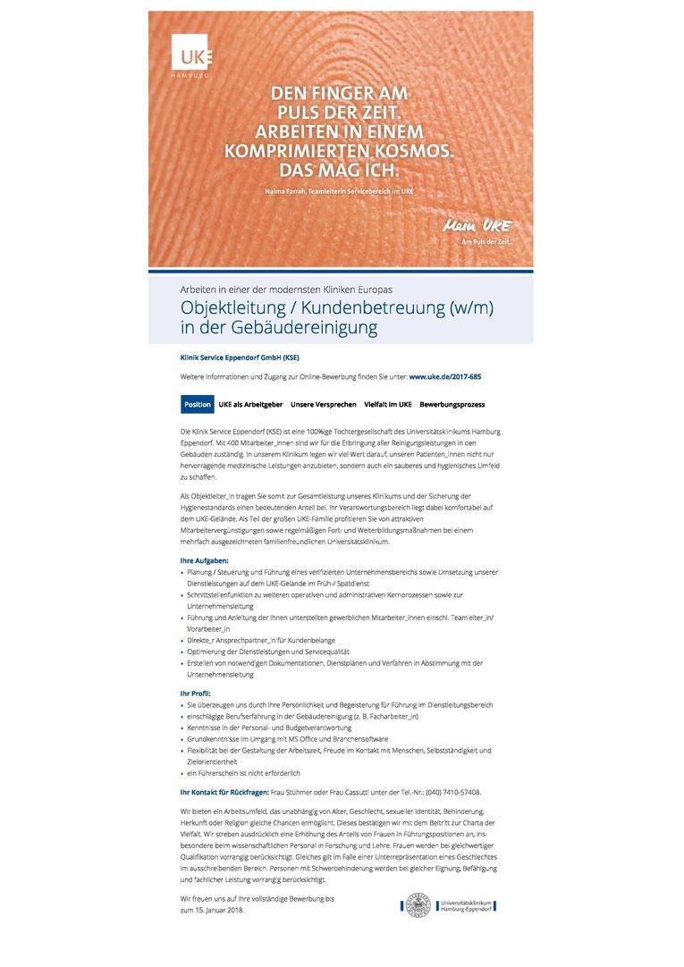 Objektleitung / Kundenbetreuung (w/m) in der Gebäudereinigung