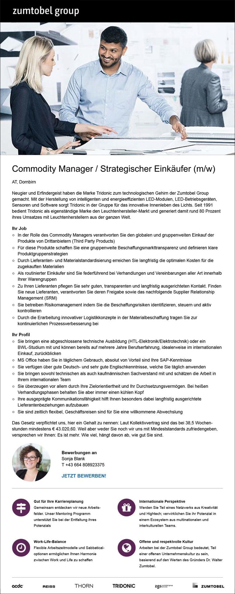 Commodity Manager / Technischer Einkäufer (m/w) in Dornbirn