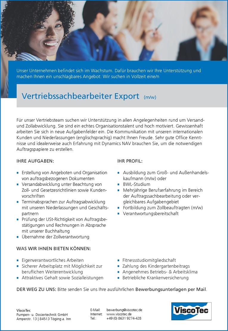 Vertriebssachbearbeiter Export (m/w)
