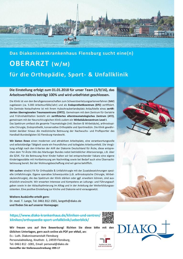 Oberarzt (w/m) für die Orthopädie, Sport- und Unfallklinik
