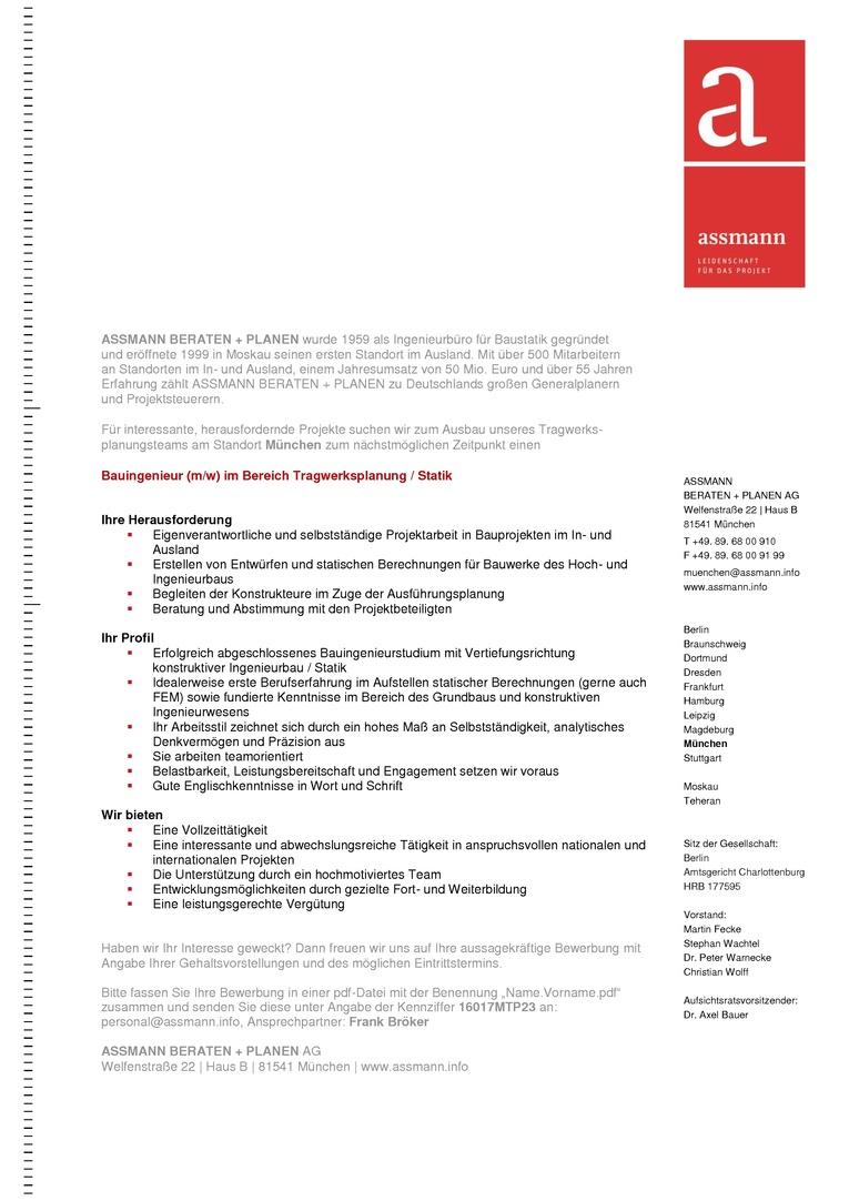 Bauingenieur (m/w) im Bereich Tragwerksplanung / Statik