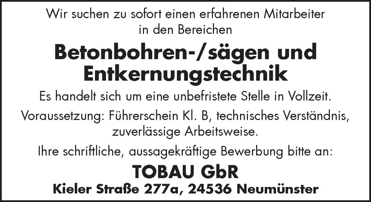 Betonbohren-/sägen und Entkernungstechnik