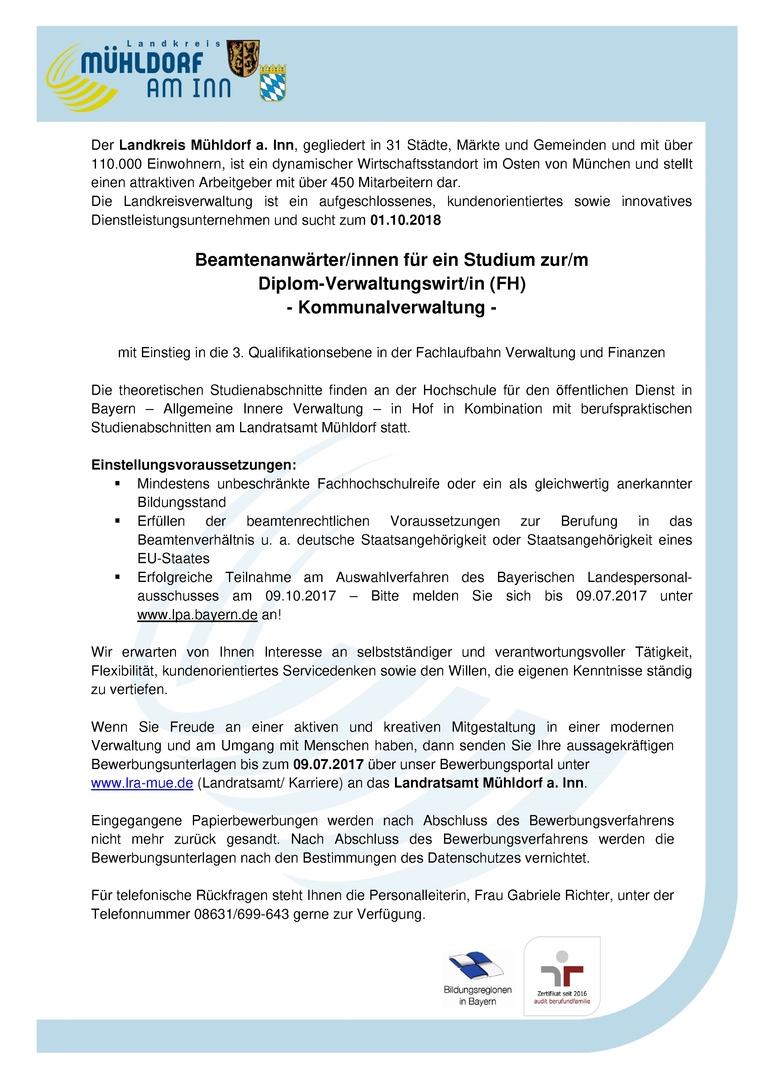 Beamtenanwärter/in für ein Studium zur/m Diplom-Verwaltungswirt/in (FH) - Kommunalverwaltung - Landratsamt Mühldorf a. Inn (öffentlicher Dienst)