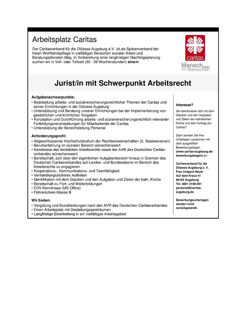 Jurist/in mit Schwerpunkt Arbeitsrecht