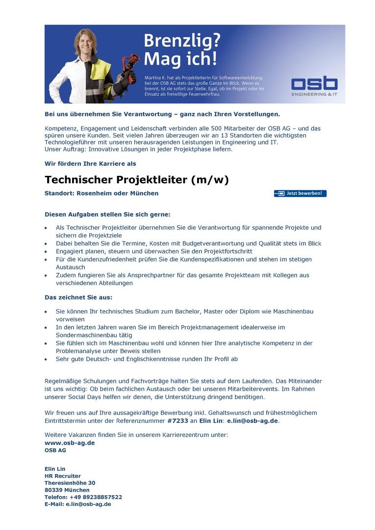 Technischer Projektleiter (m/w)