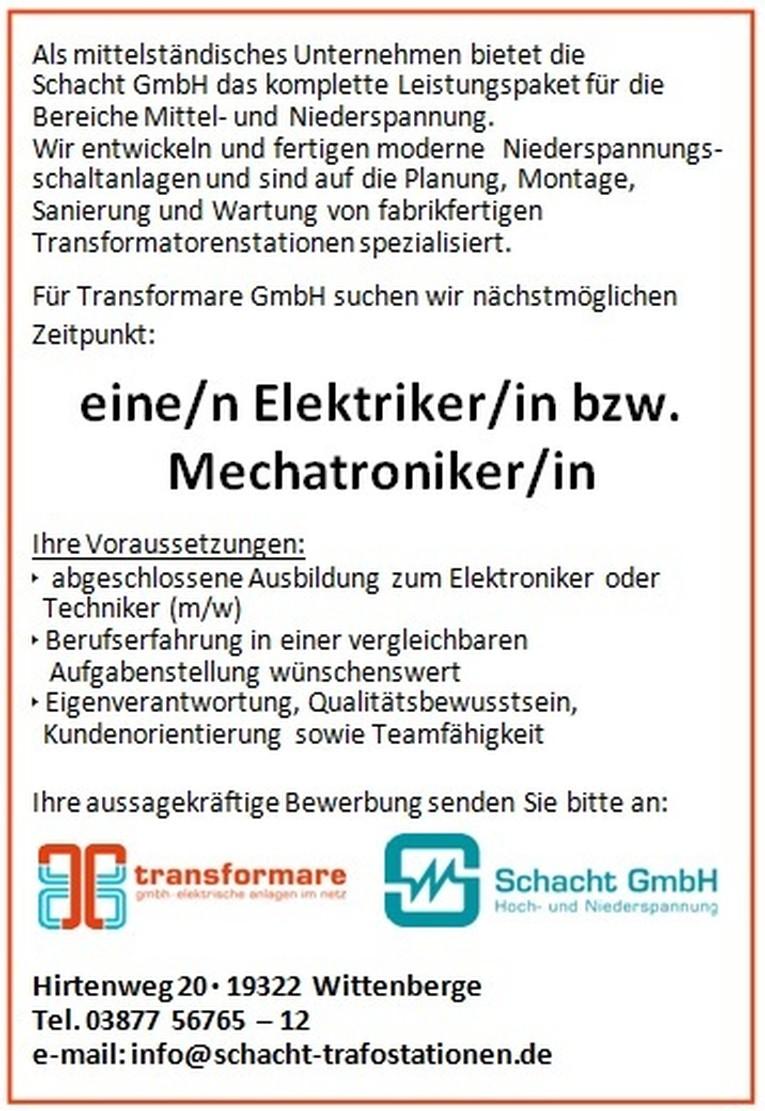 Elektriker/in bzw. Mechatroniker/in