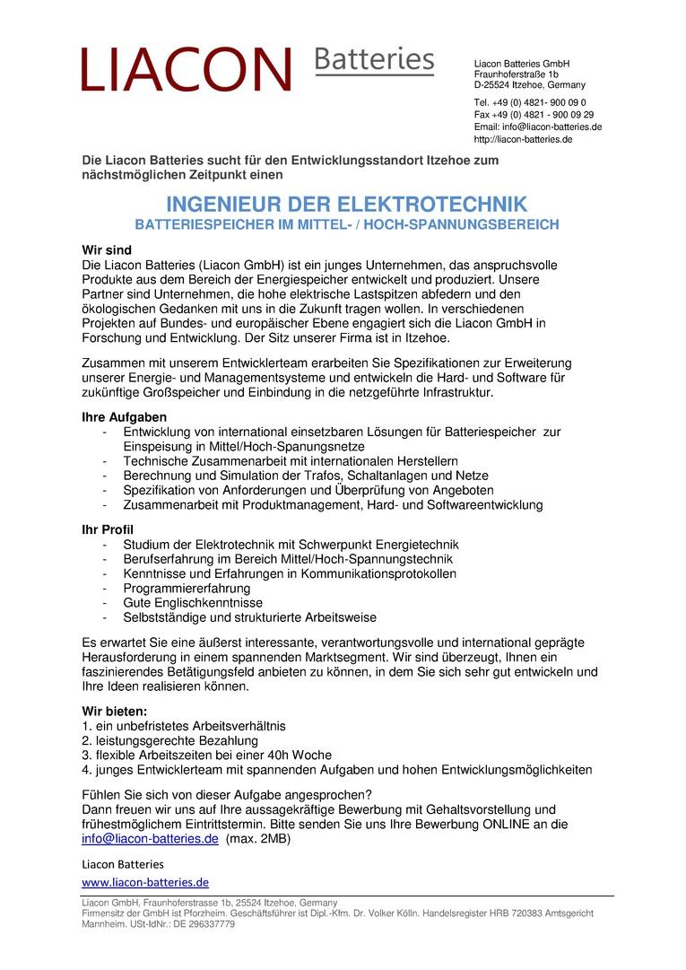 INGENIEUR DER ELEKTROTECHNIK - BATTERIESPEICHER IM MITTEL- / HOCH-SPANNUNGSBEREICH