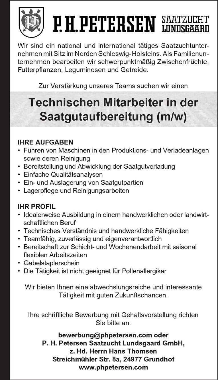 Technischen Mitarbeiter in der Saatgutaufbereitung (m/w)