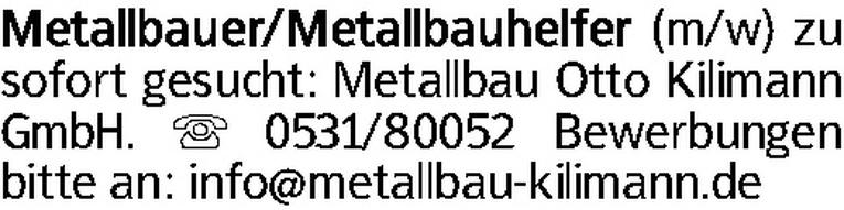 Metallbauer/Metallbauhelfer (m/w)