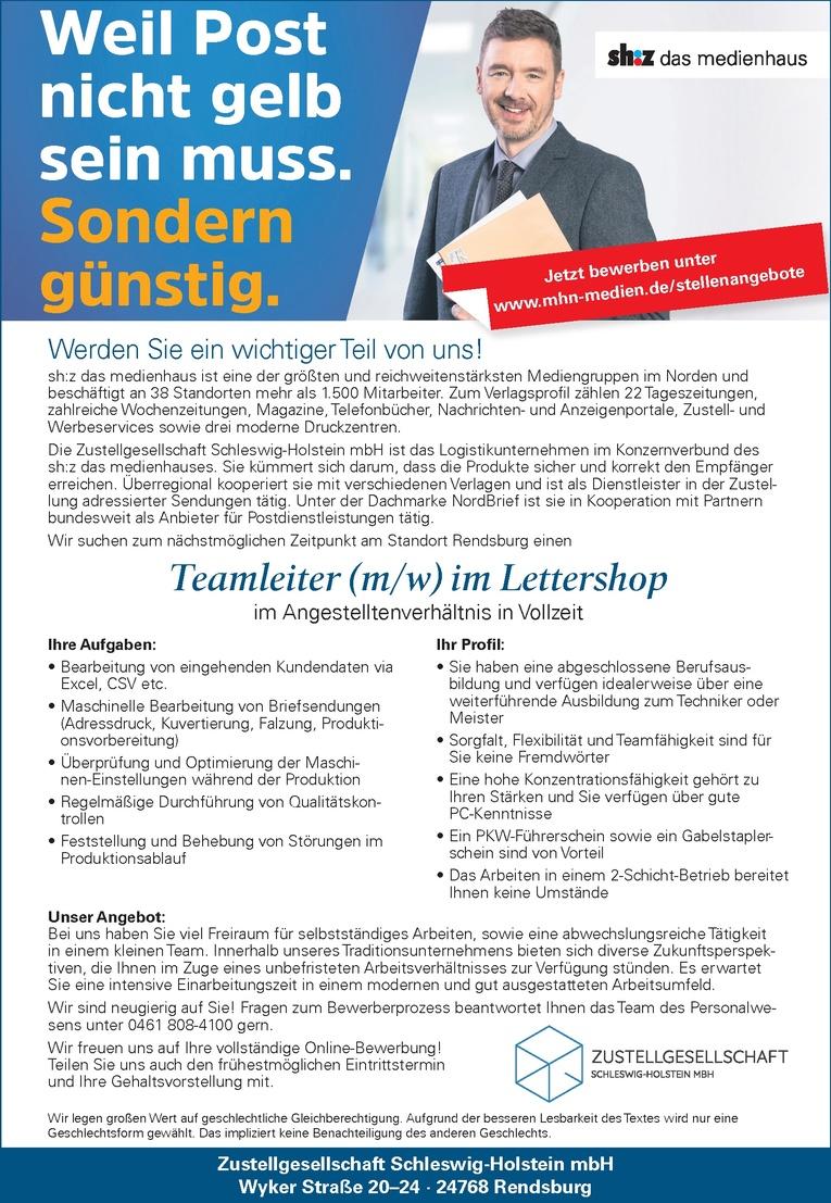 Teamleiter (m/w) im Lettershop