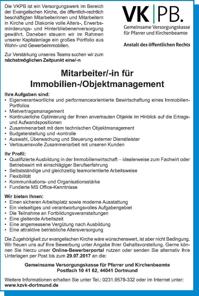 Mitarbeiter/-in für Immobilien-/Objektmanagement