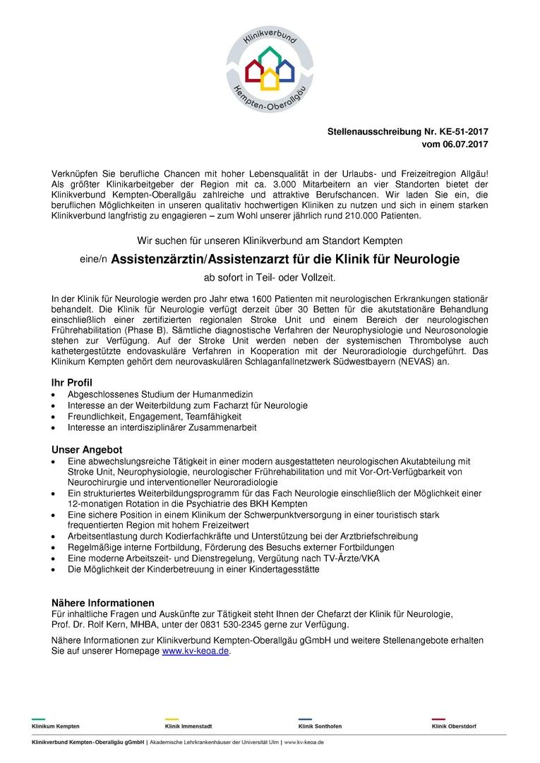 Assistenzärztin/Assistenzarzt für die Klinik für Neurologie