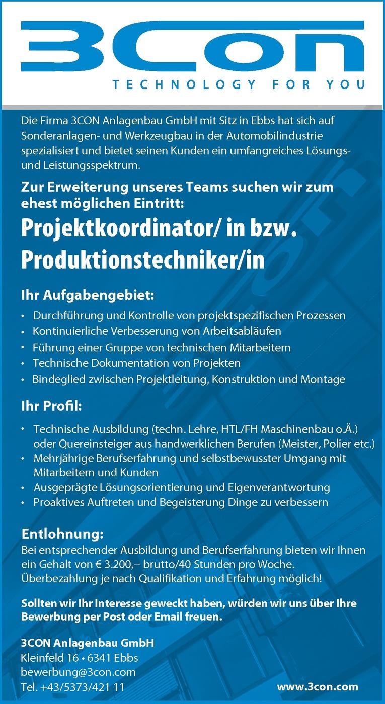 Projektkoordinator/in bzw. Produktionstechniker/in