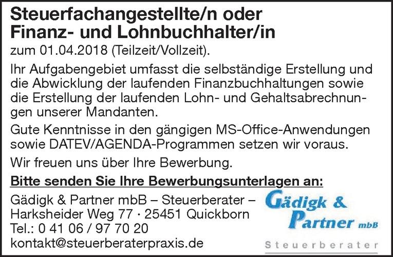 Steuerfachangestellte/n oder Finanz- und Lohnbuchhalter/in