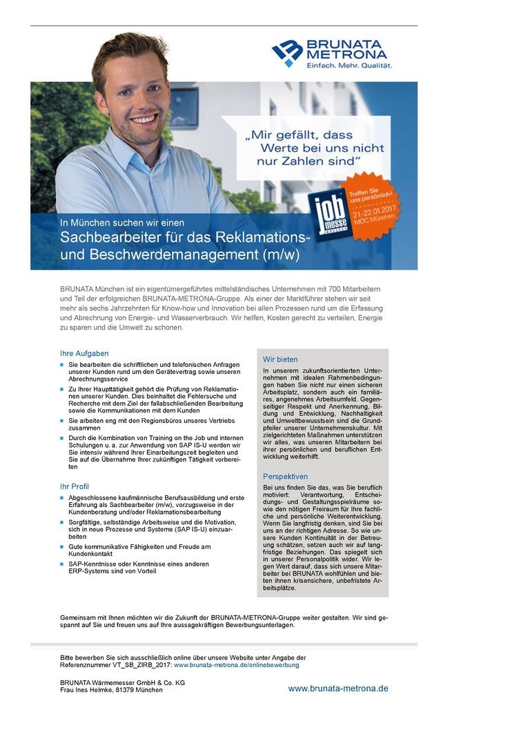 Sachbearbeiter für das Reklamations und Beschwerdemanagement (m/w)