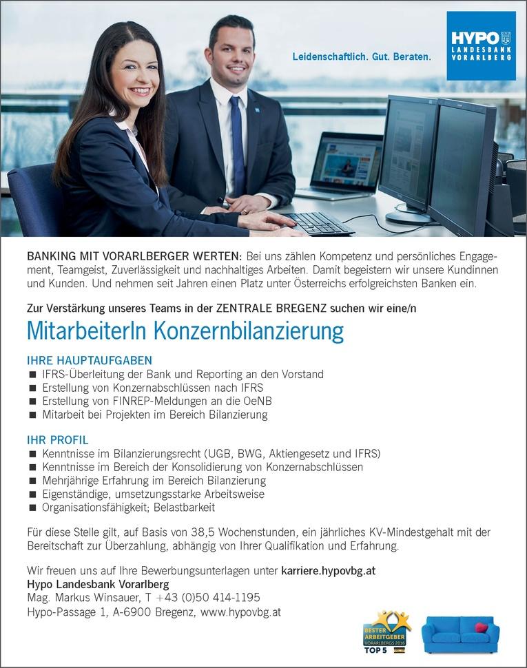 MitarbeiterIn Konzernbilanzierung in Vorarlberg