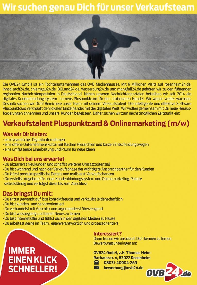 Verkaufstalent Pluspunktcard & Onlinemarketing (m/w)