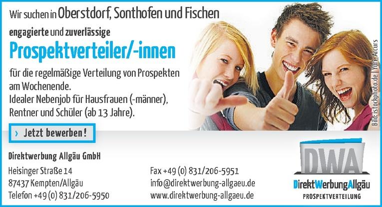 Prospektverteiler/-innen in Oberstdorf, Sonthofen und Fischen