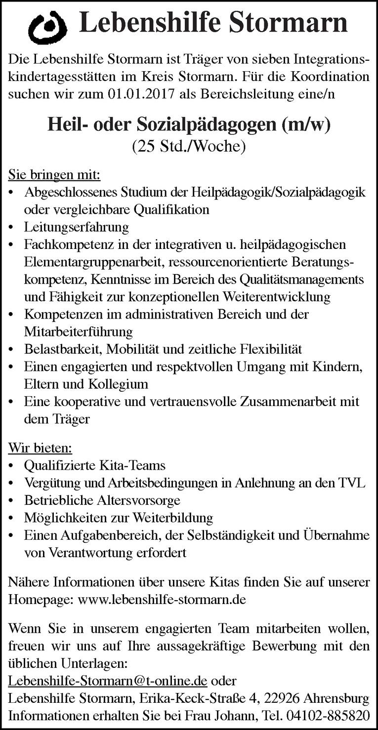 Heil- oder Sozialpädagogen (m/w)