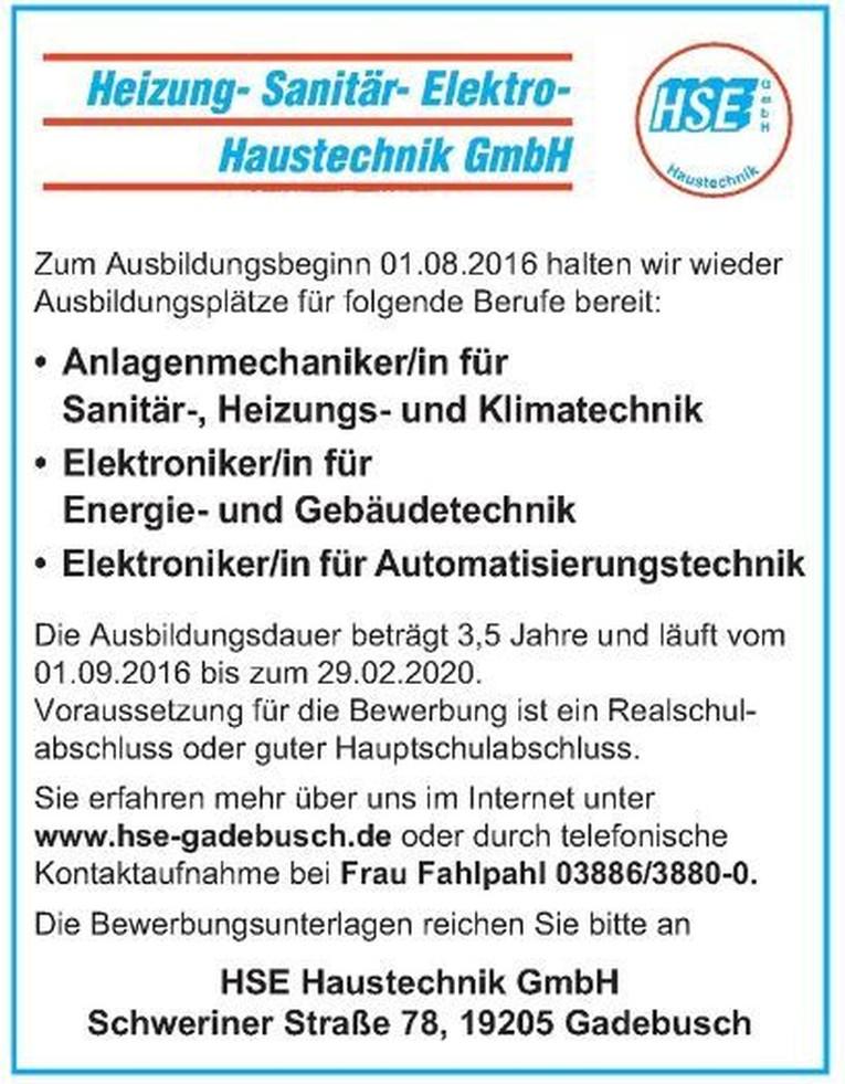 Ausbildung zum/ zur Anlagenmechaniker/-in für Sanitär-, Heinzungs- und Klimatechnik, Elektroniker/-in für Energie- und Gebäudetechnik, Elektroniker/ - in für Automatisierungstechniker