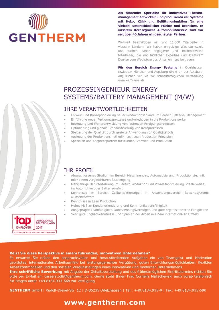 Prozessingenieur Energy Systems/Battery Management (m/w)