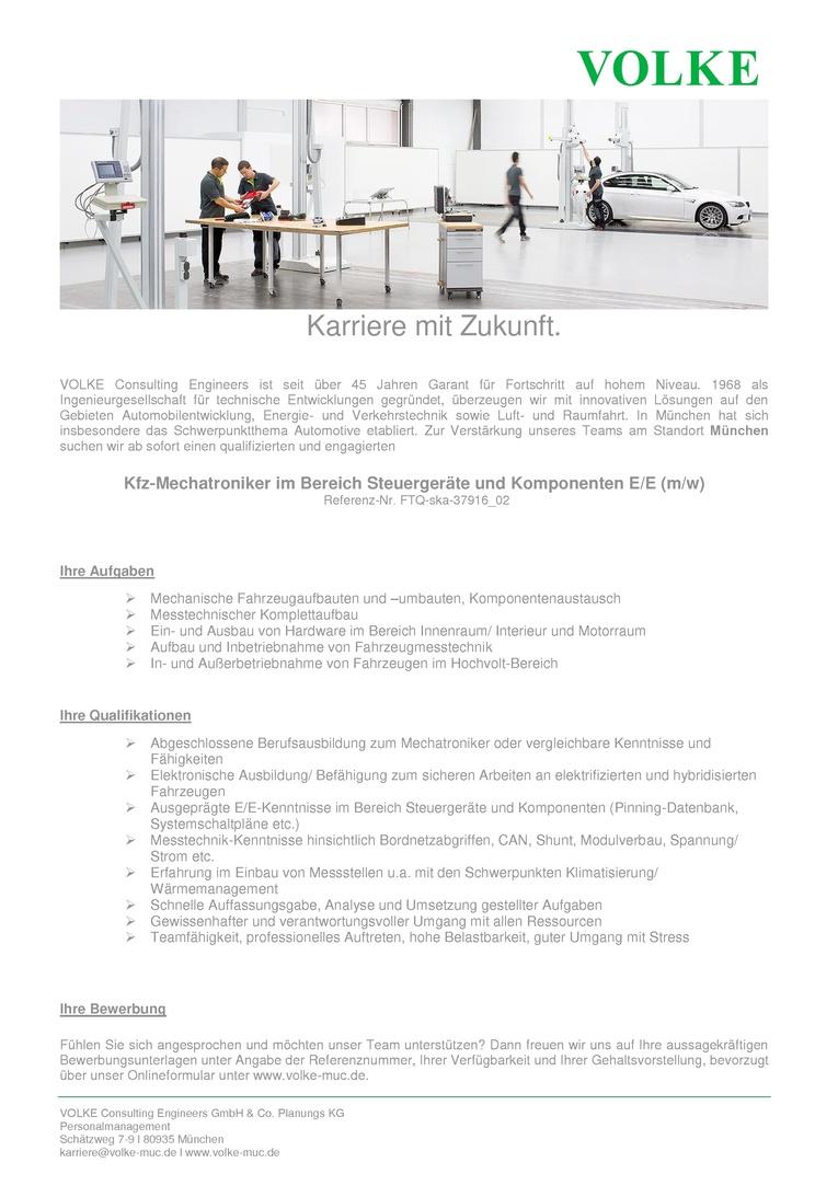 Kfz-Mechatroniker im Bereich Steuergeräte und Komponenten E/E (m/w)
