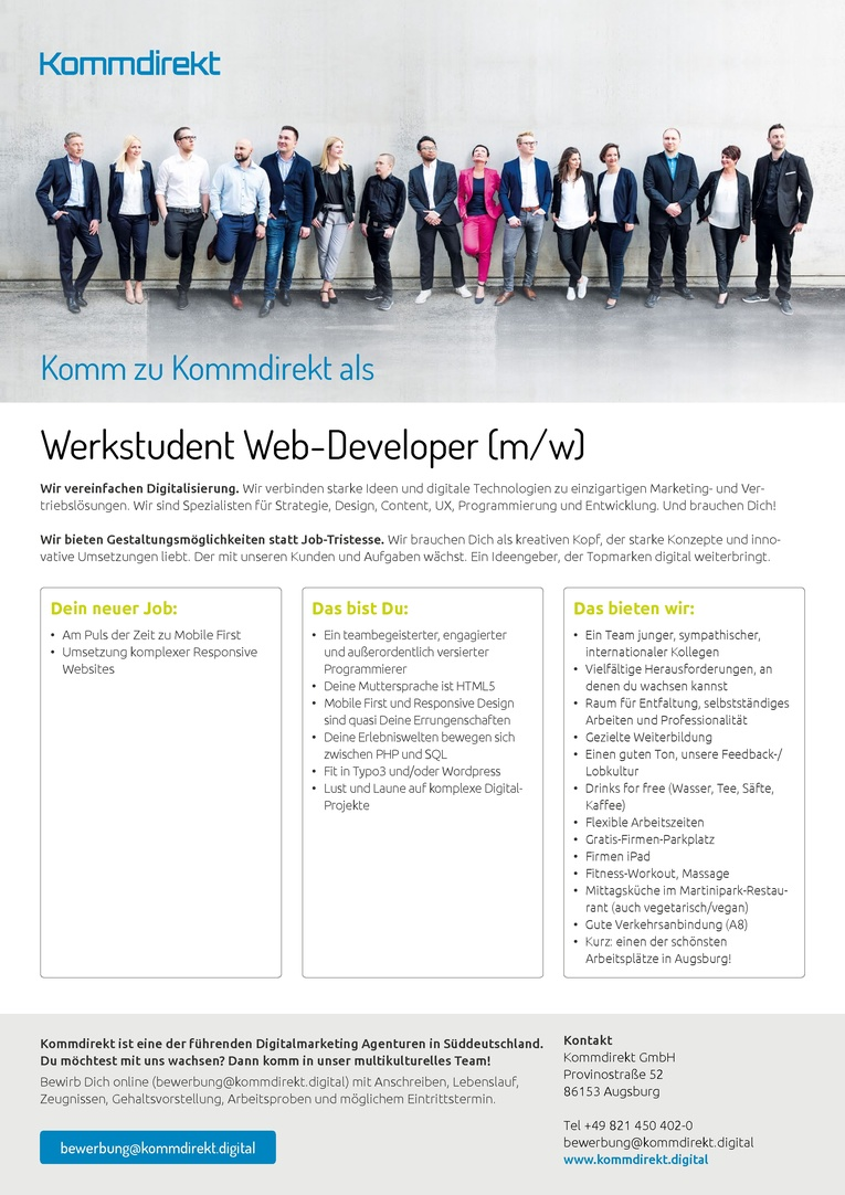 Job Werkstudent Web Developer Mw