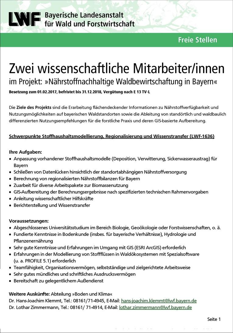 LWF-1636 Wissenschaftliche/r Mitarbeiter/in im Projekt: »Nährstoffnachhaltige Waldbewirtschaftung in Bayern« | Schwerpunkt: Stoffhaushaltsmodellierung etc. m/w