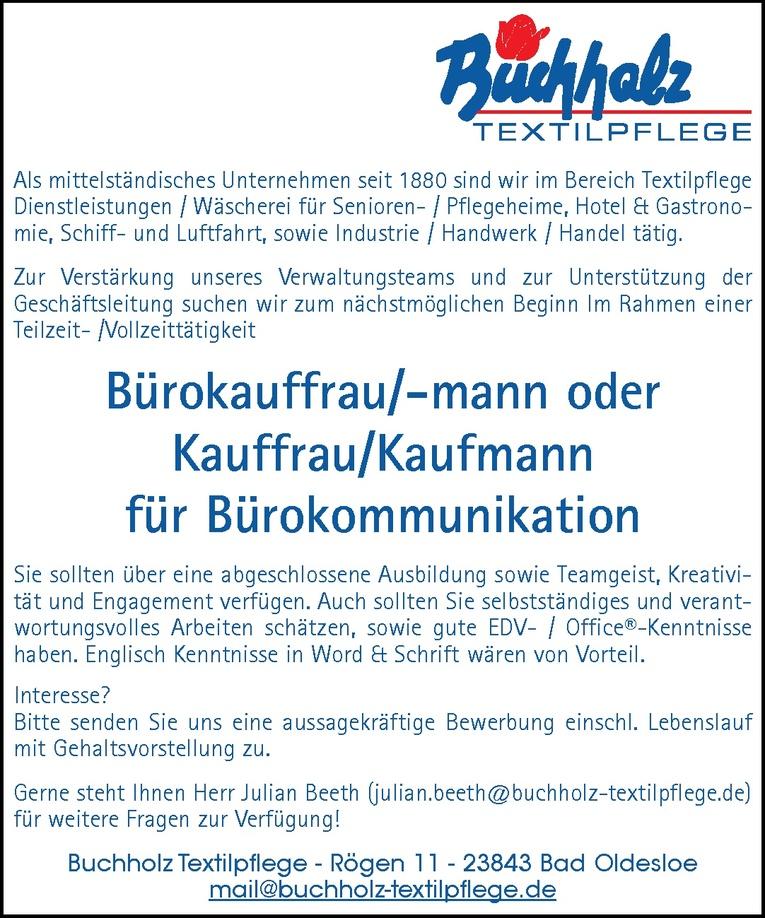 Bürokauffrau/-mann oder Kauffrau/Kaufmann für Bürokommunikation