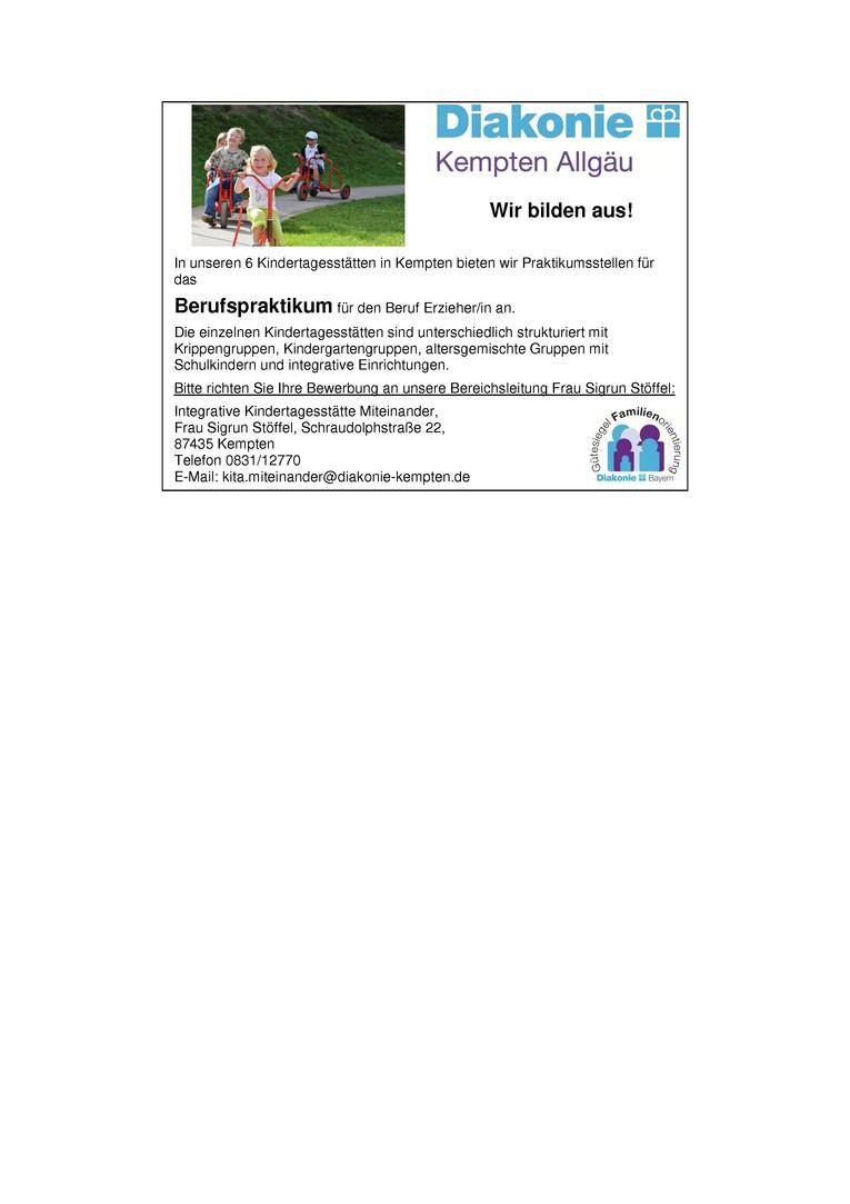 Berufspraktikum in unseren Kindertagesstätten (m/w) ab September 2018