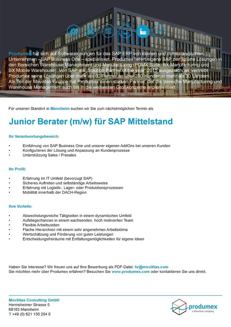 Junior Berater für SAP Business One (m/w)