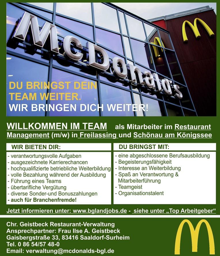 Mitarbeiter im Restaurant-Management - Schichtführer/in (Vollzeit)