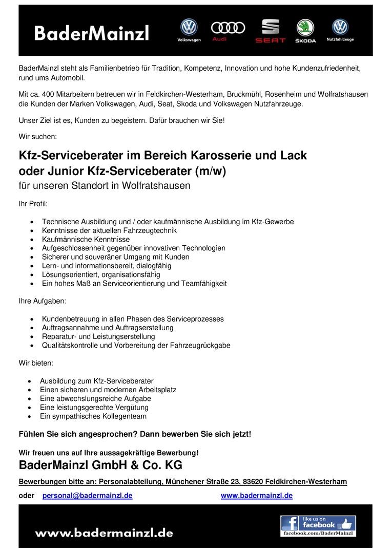 Kfz-Serviceberater / Kfz-Serviceberaterin im Bereich Karosserie und Lack oder Junior Kfz-Serviceberater