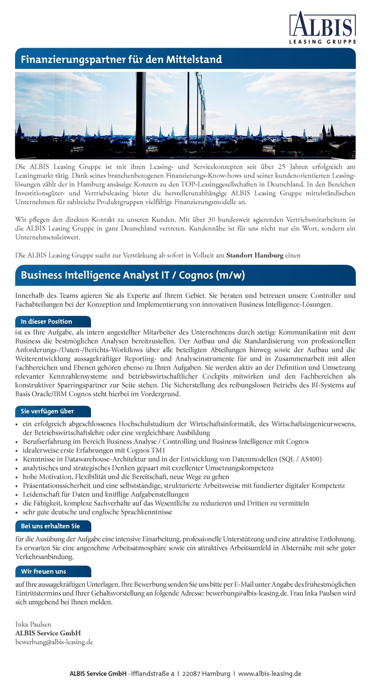 Business Intelligence Analyst IT / Cognos (m/w)