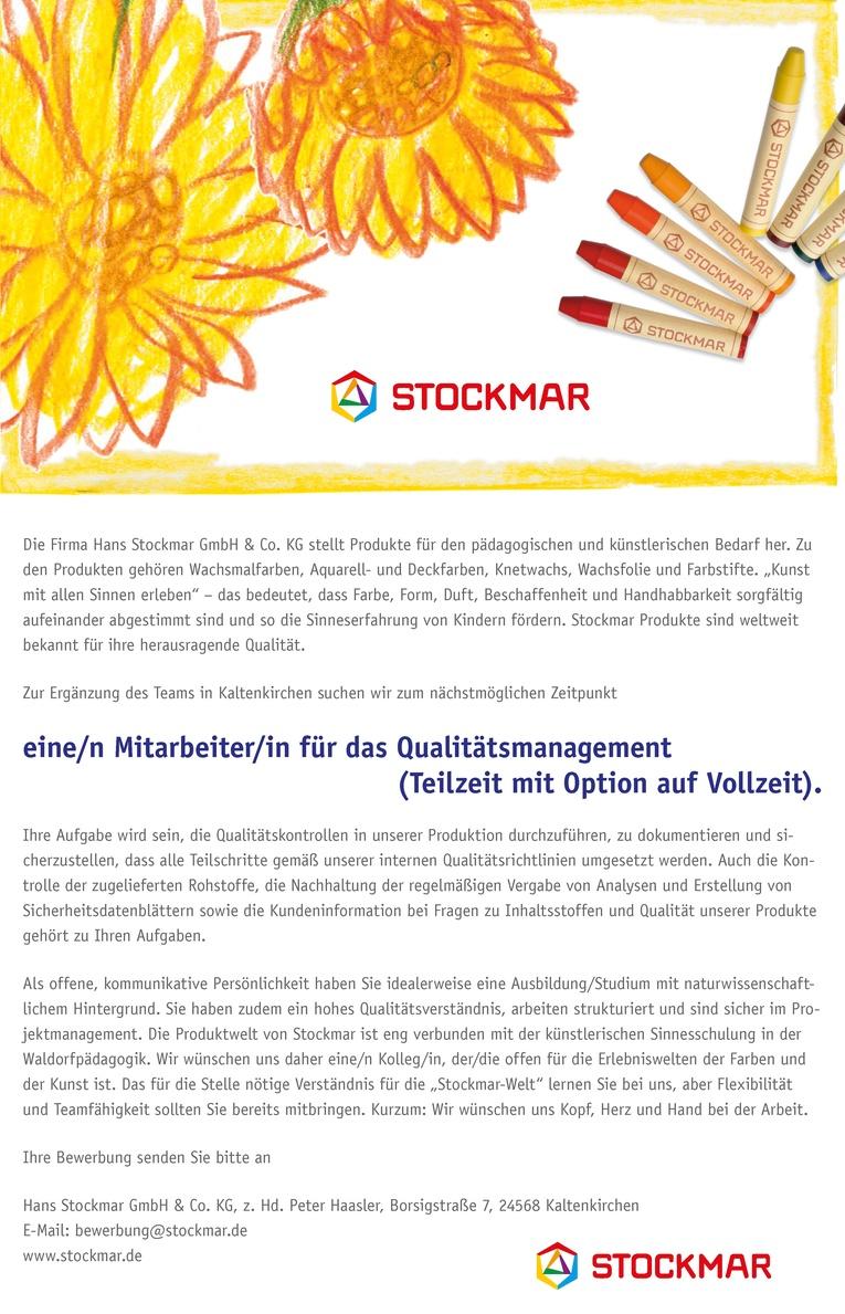 Mitarbeiter/in für das Qualitätsmanagement (Teilzeit mit Option auf Vollzeit)