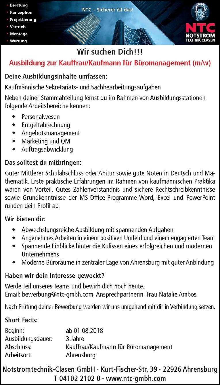 Ausbildung zur Kauffrau/Kaufmann für Büromanagement (m/w)