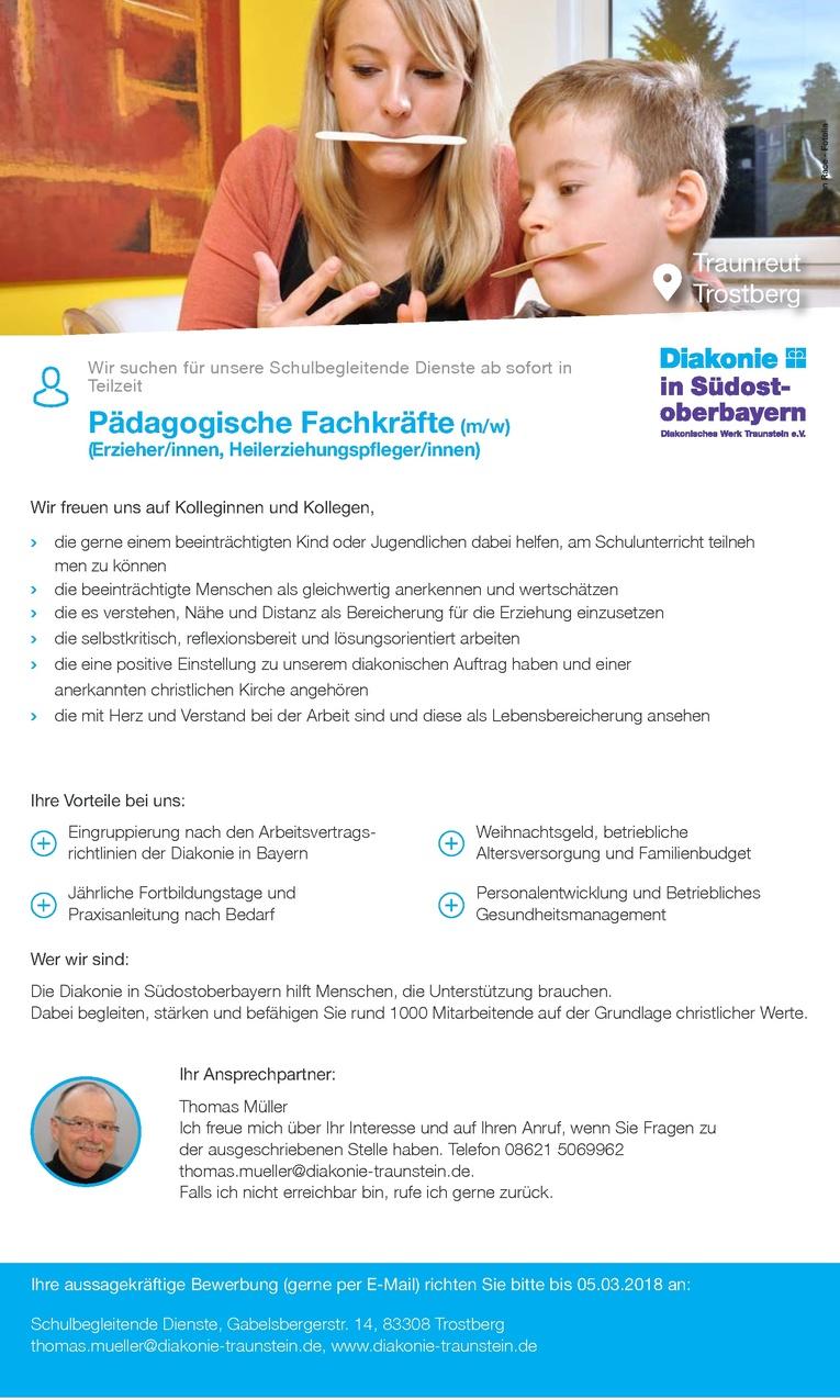 Pädagogische Fachkräfte in Traunreut und Trostberg