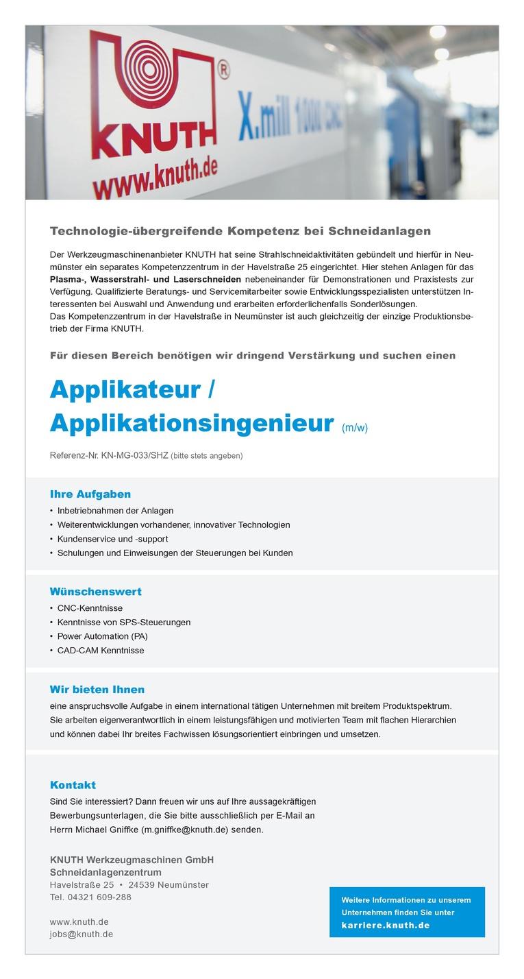 Applikateur /  Applikationsingenieur (m/w)