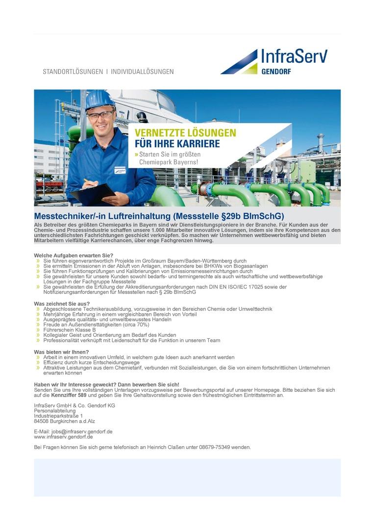 Messtechniker/-in Luftreinhaltung (Messstelle §29b BImSchG)