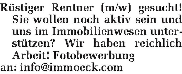 Rentner (m/w)