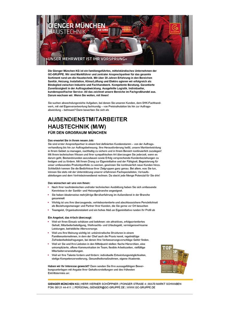AUßENDIENSTMITARBEITER HAUSTECHNIK (M/W)
