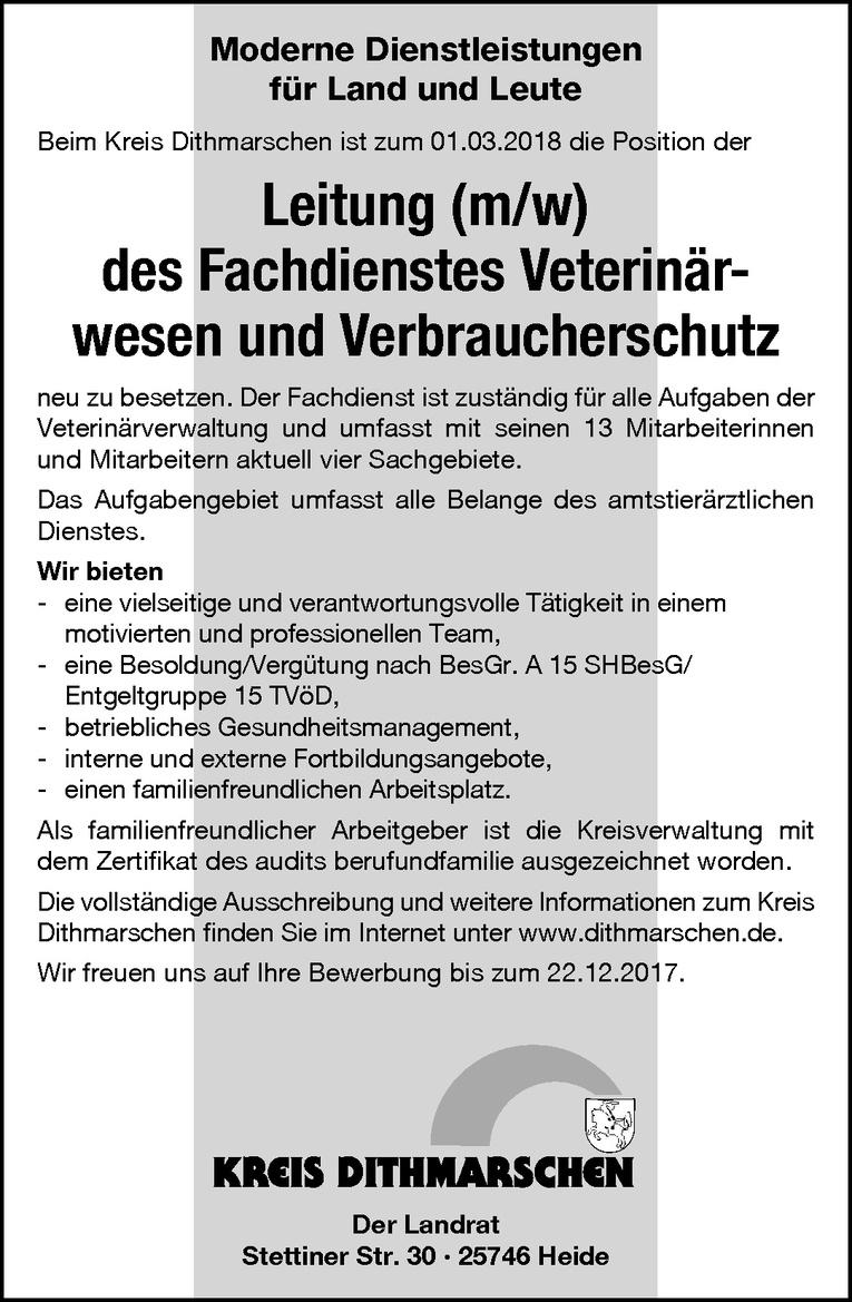 Leitung (m/w) des Fachdienstes Veterinärwesen und Verbraucherschutz