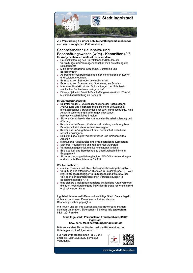 Sachbearbeiter Haushalts- und Beschaffungswesen (w/m) - Kennziffer 40/3