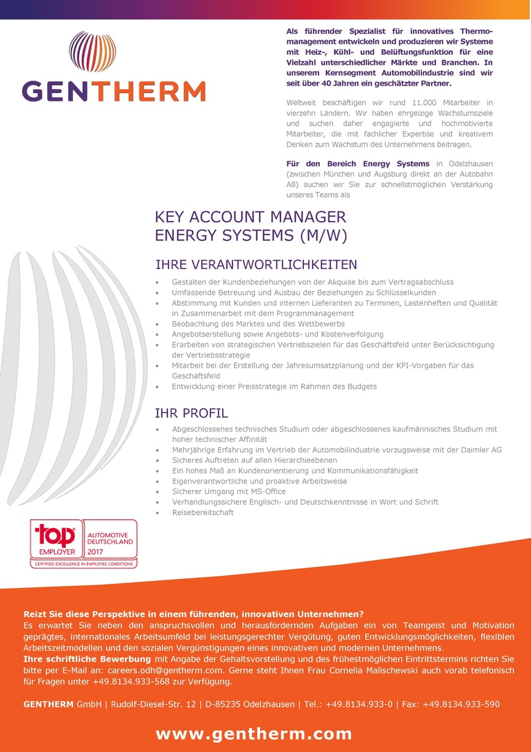 Key Account Manager Energy Systems (m/w)