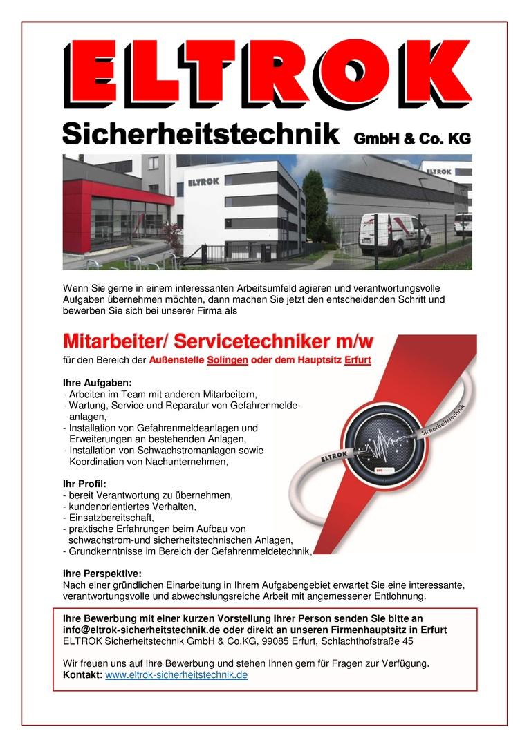 Wartungstechniker / Servicetechniker (m/w) für Brandmelde- und Alarmanlagen