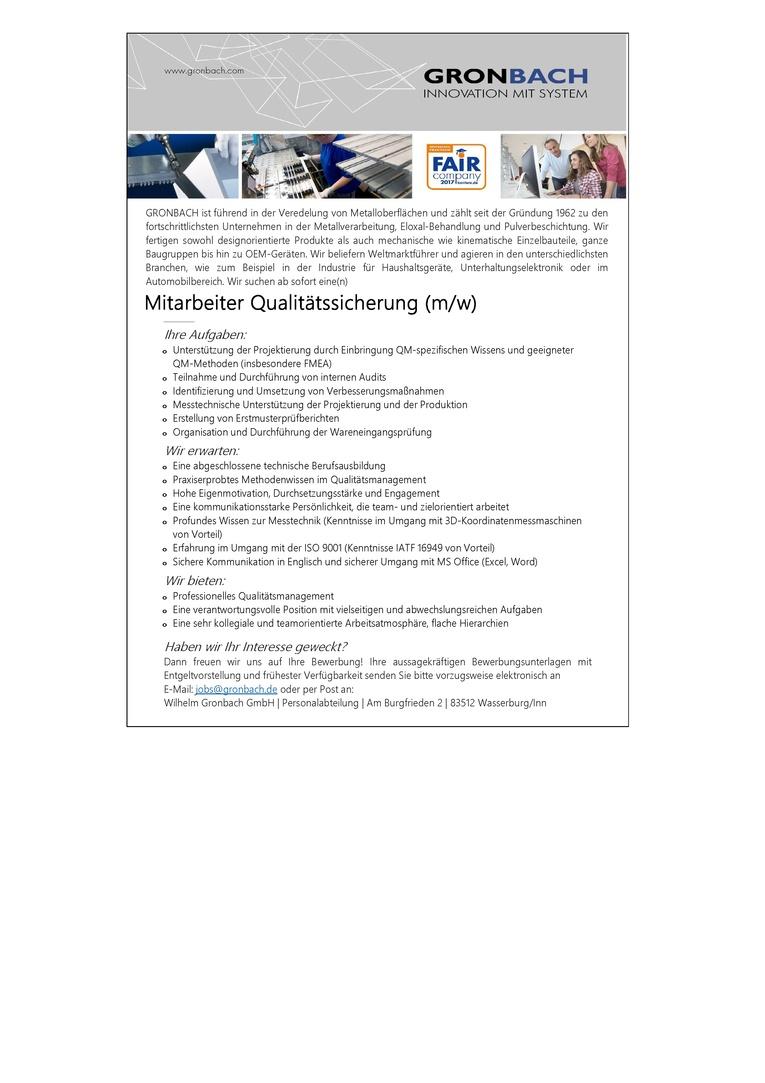 Mitarbeiter Qualitätssicherung (m/w)